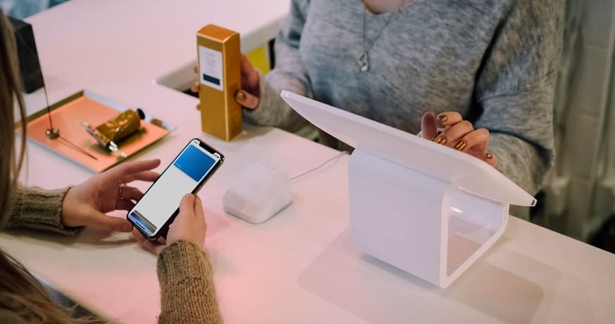 Mobile Wallet - Person paying with phone