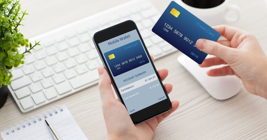 Mobile wallets - person using mobile wallet