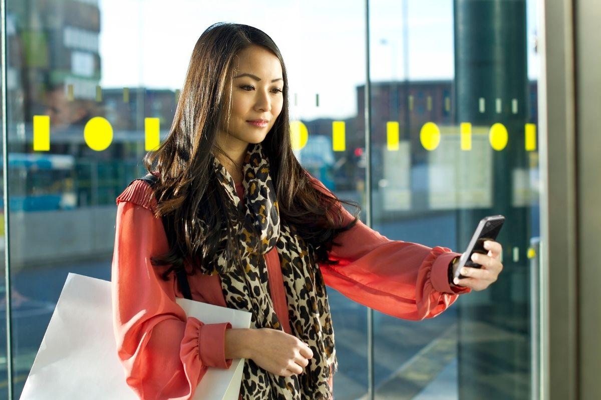 QR code scan - Woman using phone