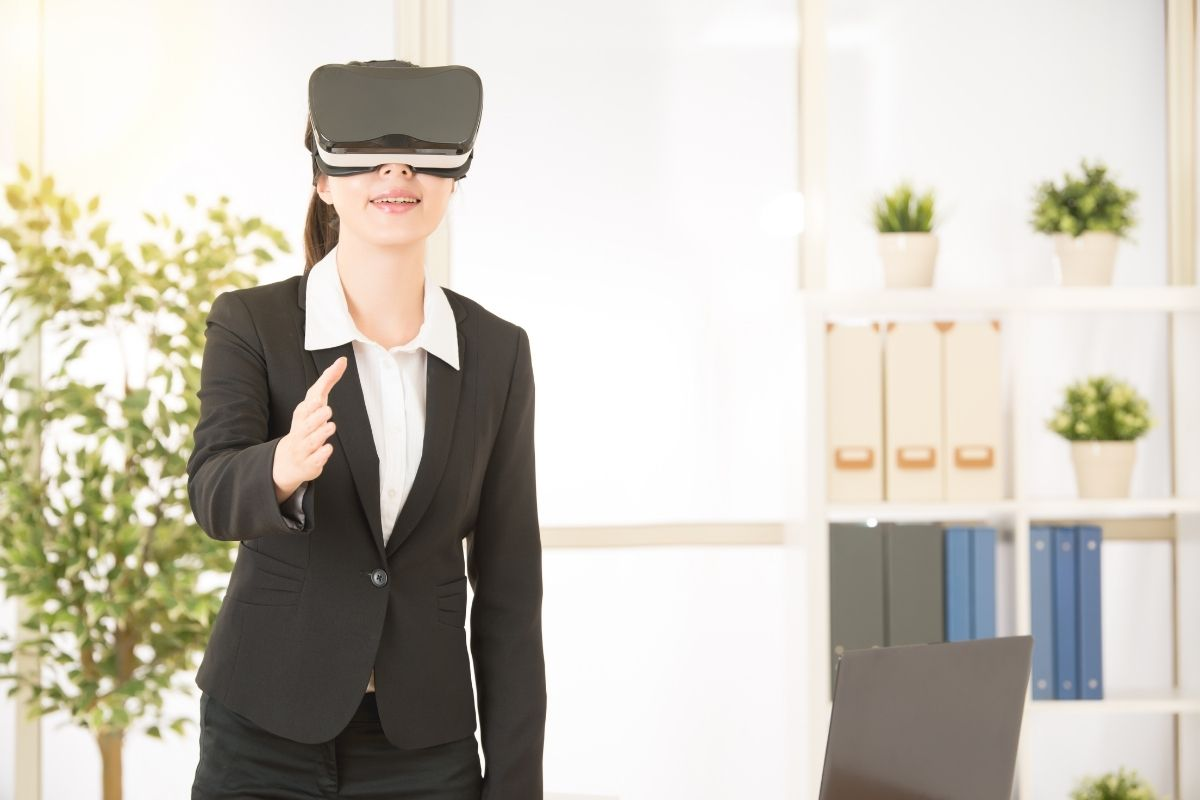 Virtual reality - woman with VR headset