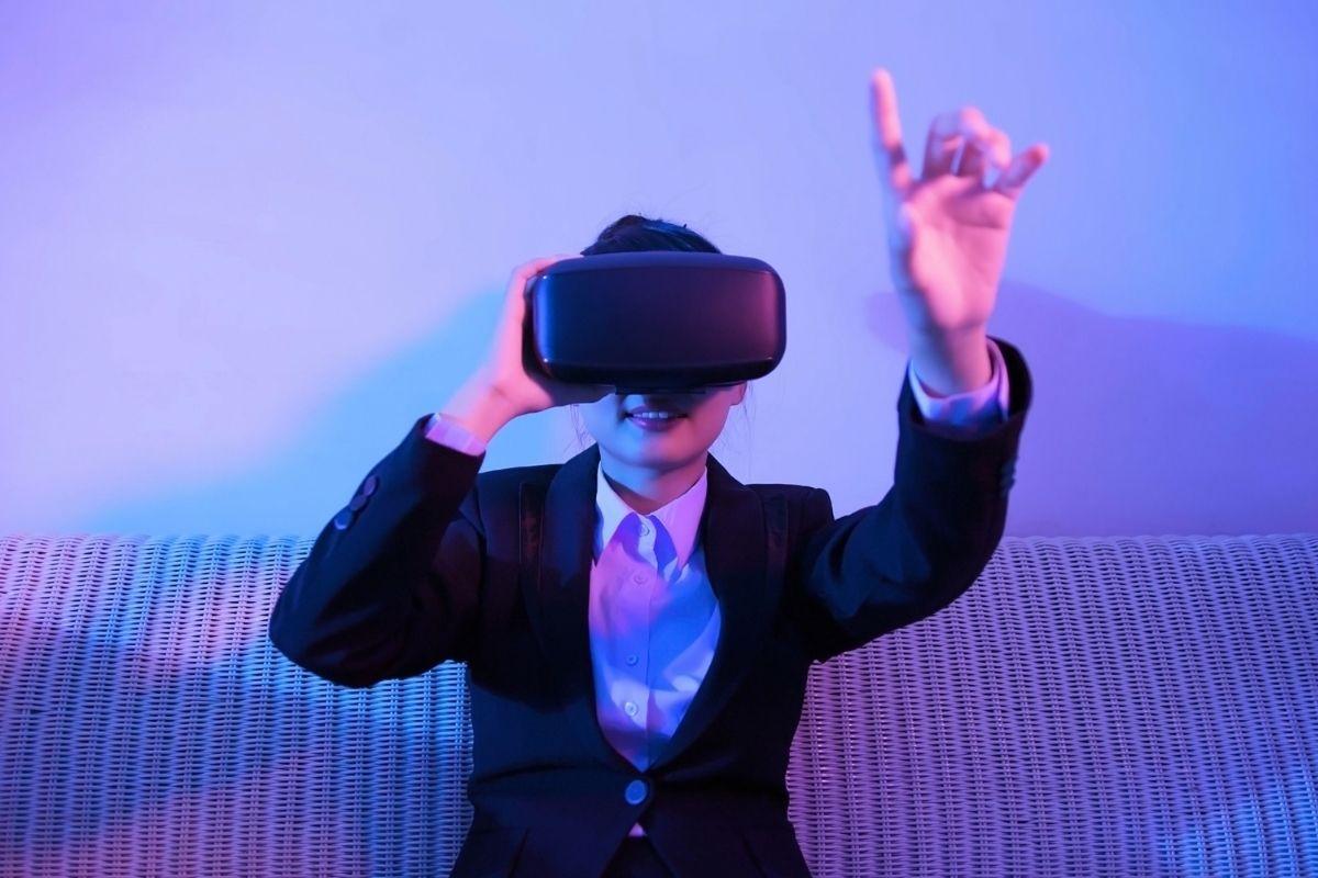 VR Meetings App - Person using VR headset